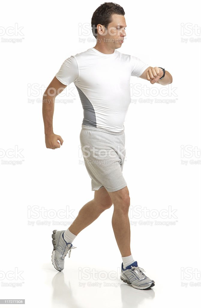 Man Jogging Isolated on White Background royalty-free stock photo