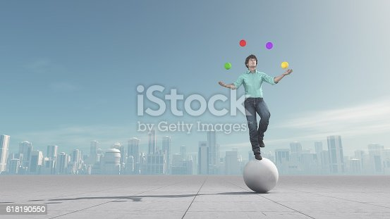 istock Man juggles the ball in balance 618190550