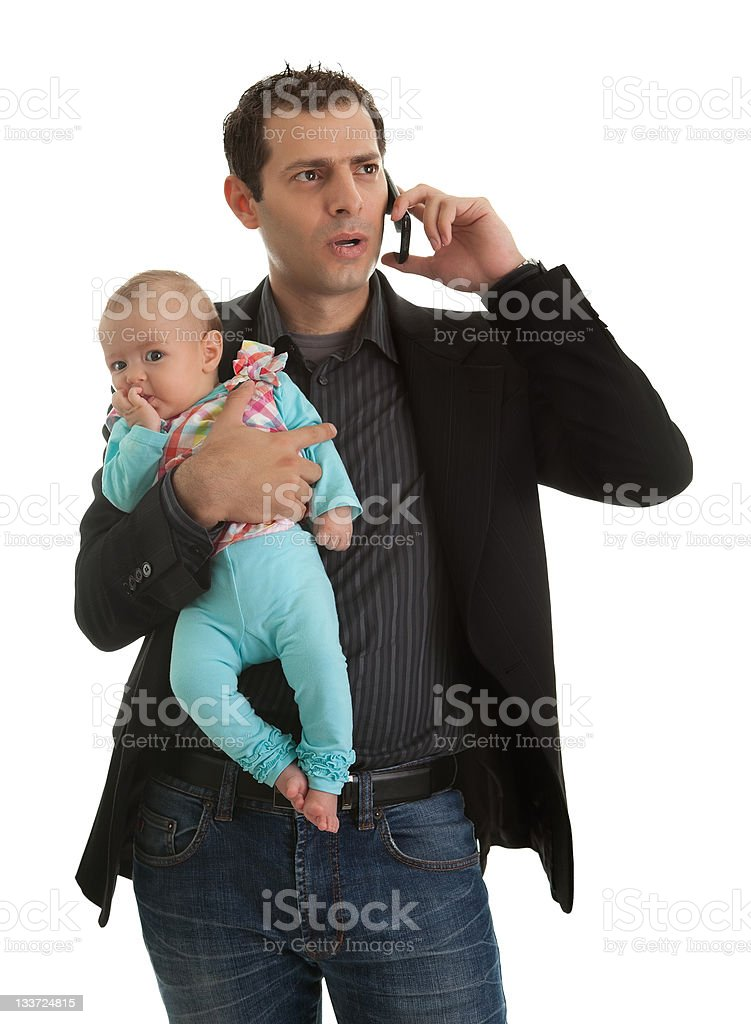 Man juggling in being businessman and a father royalty-free stock photo