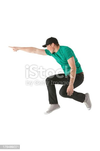 istock Man jumping and pointing away 175489221