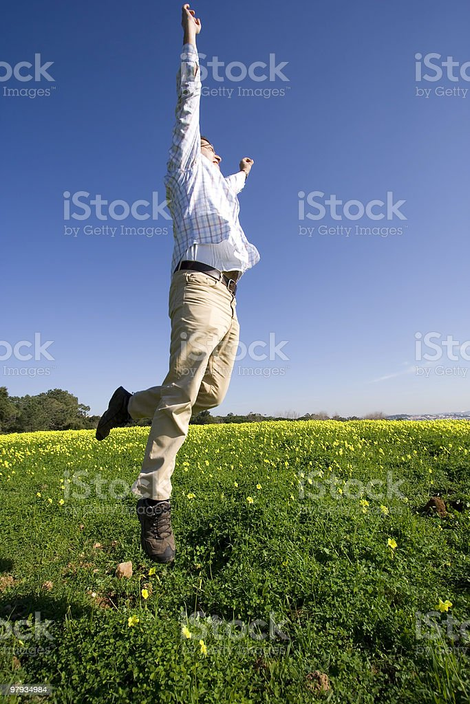 man jumping high to sucess royalty-free stock photo