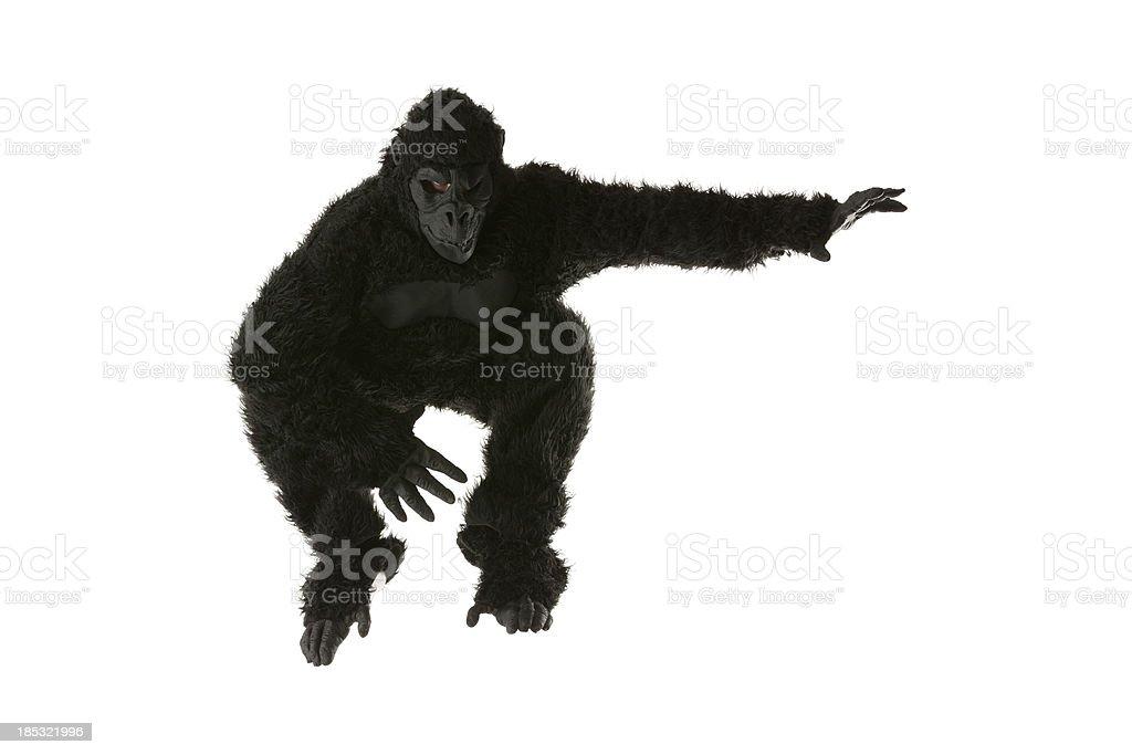 Man jumping in gorilla costume royalty-free stock photo
