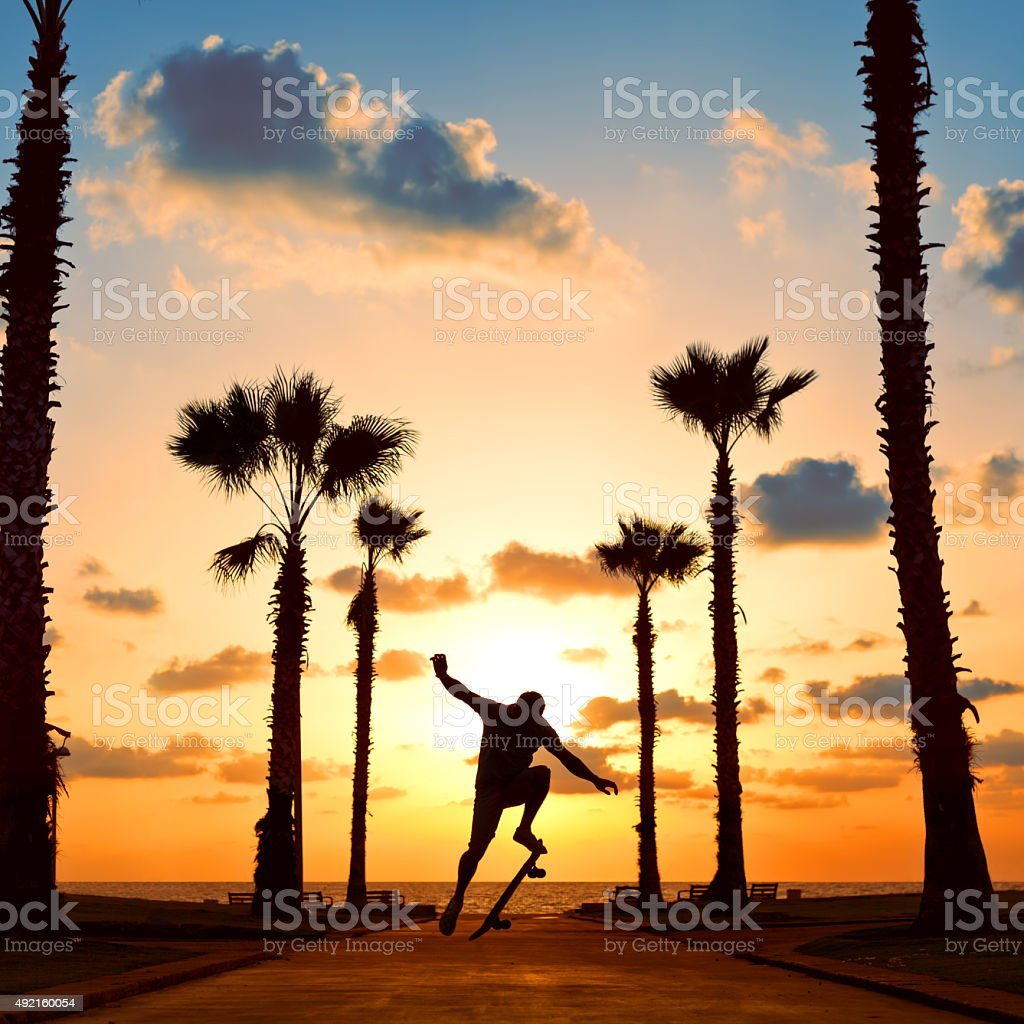 man jumping on skateboard near the ocean in sunset stock photo