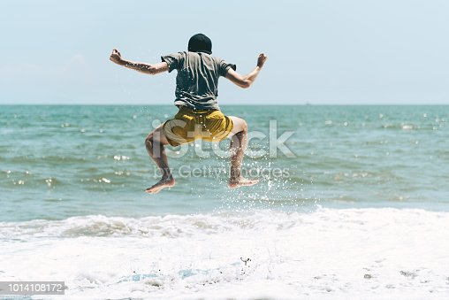 500536143istockphoto A man jumping on the beach 1014108172