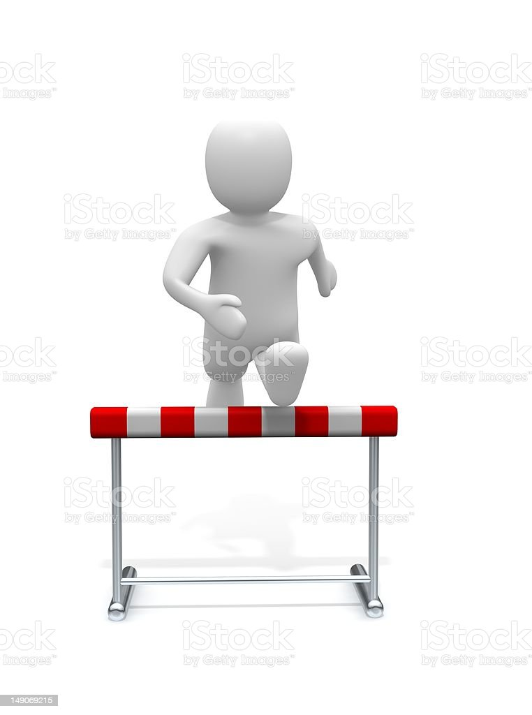 Man jumping over the hurdle royalty-free stock photo