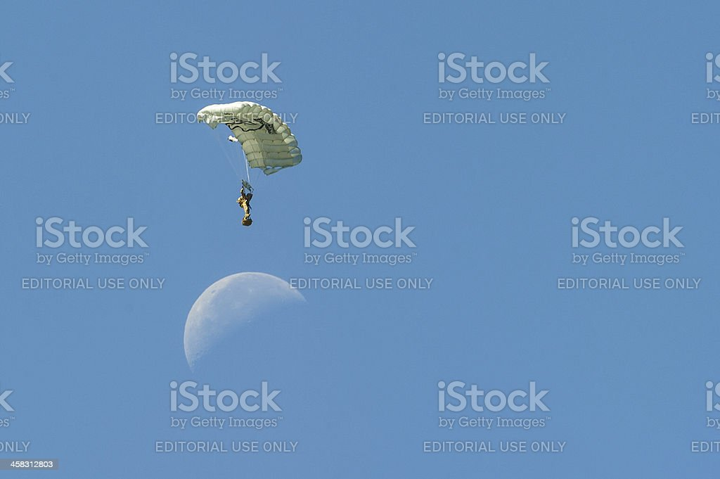 Man jumps over moon royalty-free stock photo