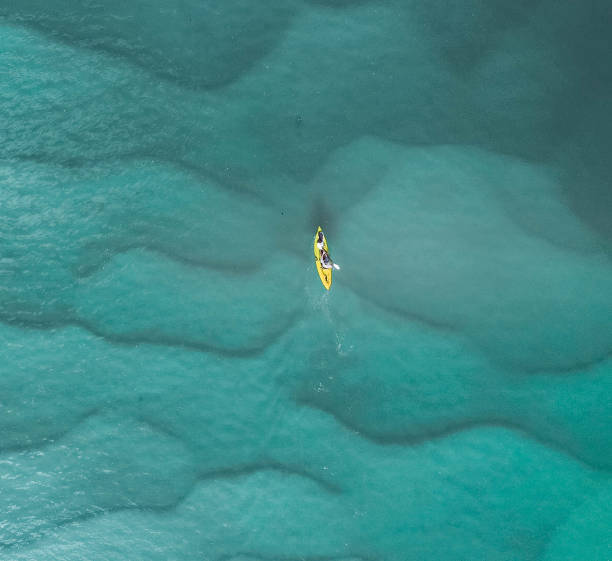 man kayaking in a blue ocean near a tropical beach perfect for fitness, fun, fishing and holidays. aerial shot at sunrise. - target australia stock pictures, royalty-free photos & images
