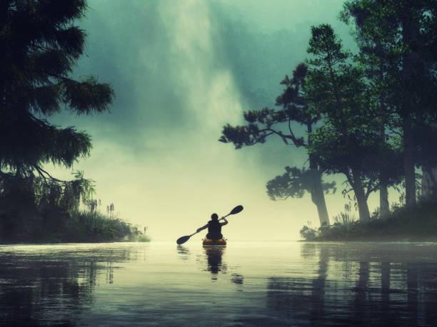 Man kayaking on a lake wild stock photo