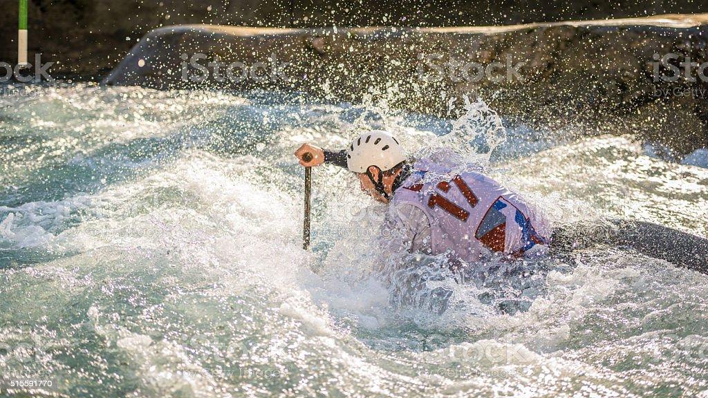 Man kayaking stock photo