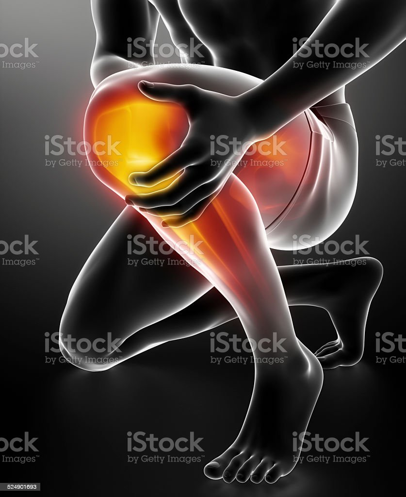 Man knee injured and sprained stock photo