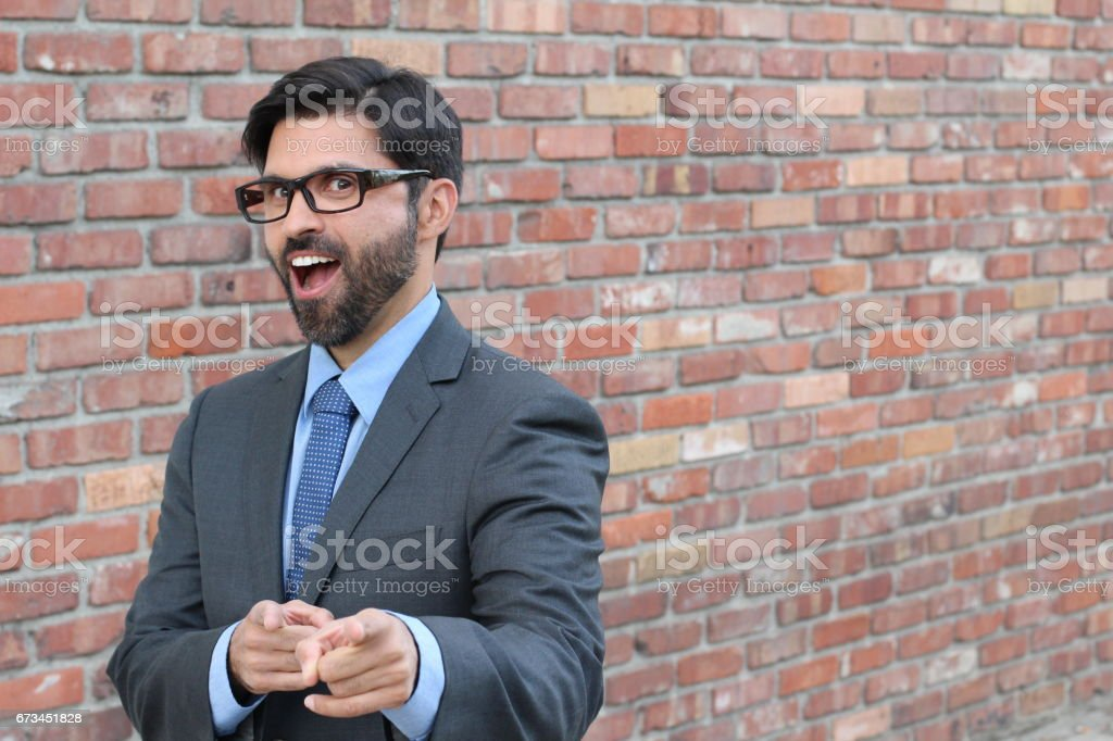 Man laughing at your face stock photo