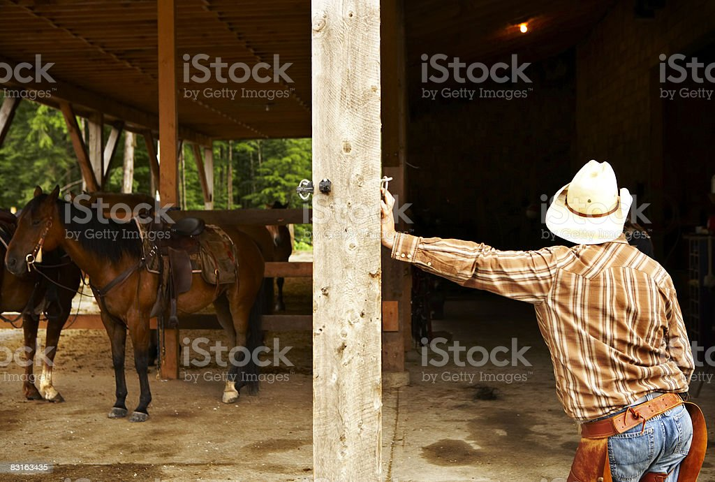 Man leaning against post in barn with horses. royalty-free stock photo