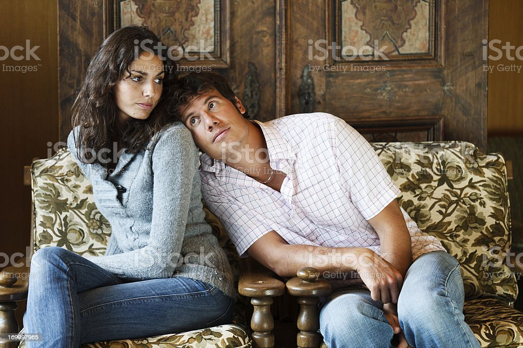 Man leaning on the girl royalty-free stock photo