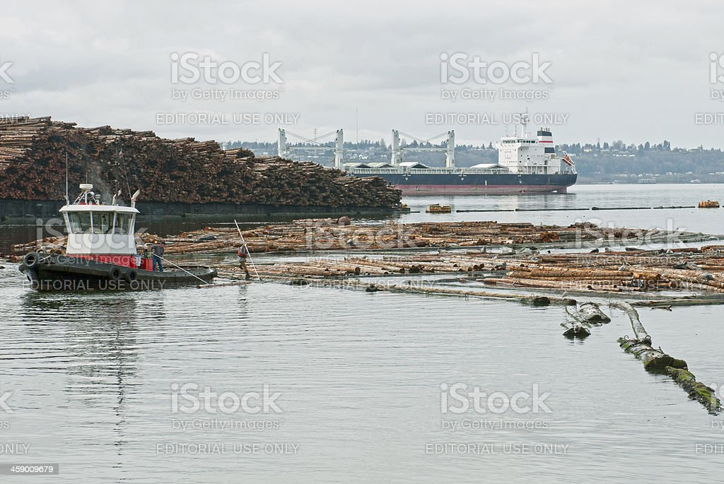 Man leaping from tugboat to log raft royalty-free stock photo