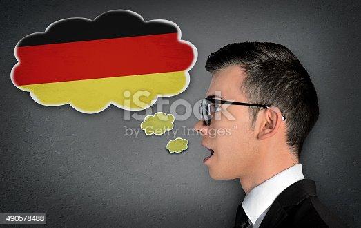 Man learn speaking german in bubble