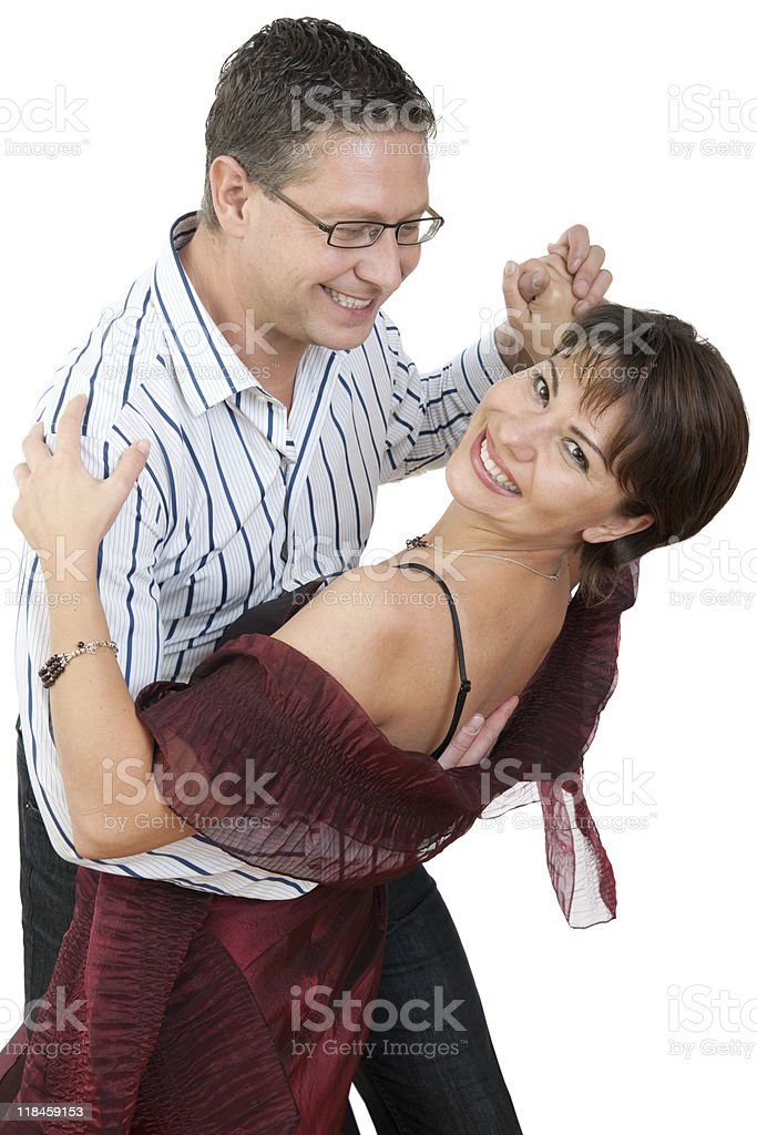 Man learning dipping his partner in a dance royalty-free stock photo