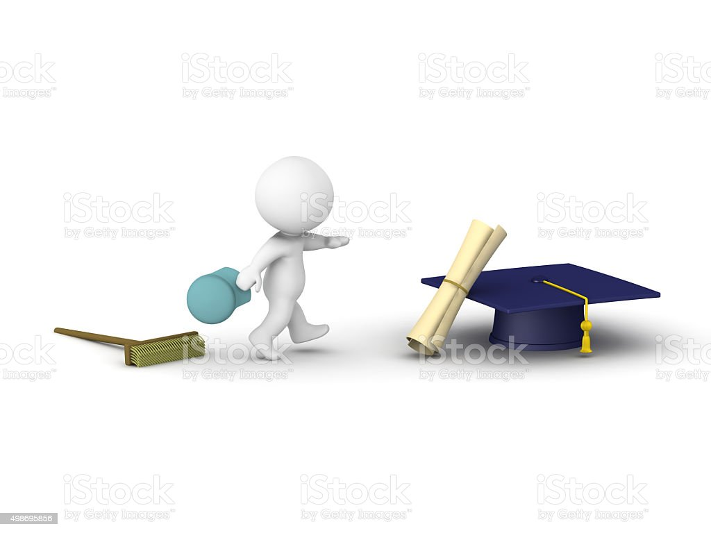 3D Man Leaves janitor job to pursue Education stock photo
