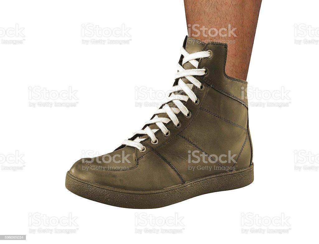 Man leg wearing shoe royalty-free stock photo