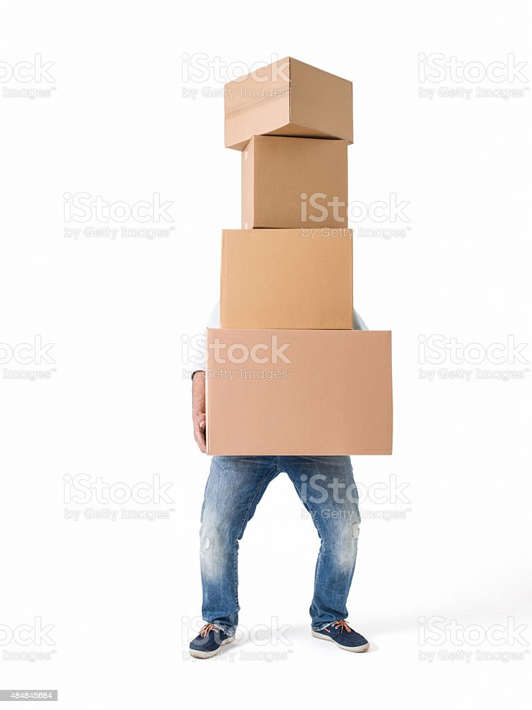 Man lifting boxes on white background stock photo