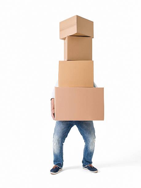 Man lifting boxes on white background stock photo