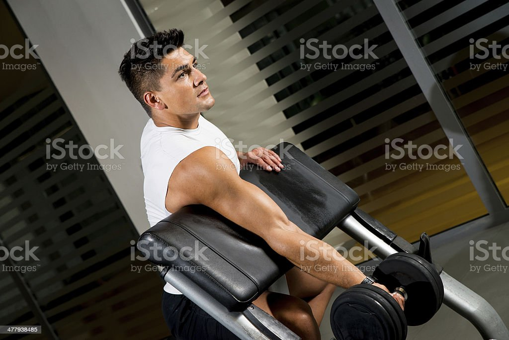 Man lifting dumbell in gym royalty-free stock photo
