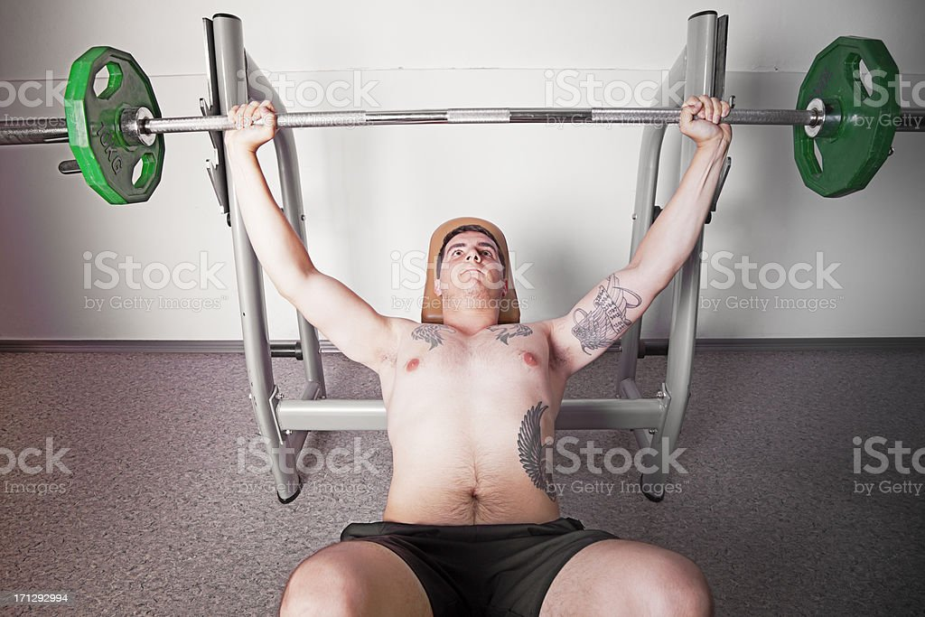 Man Lifting Heavy Weights royalty-free stock photo