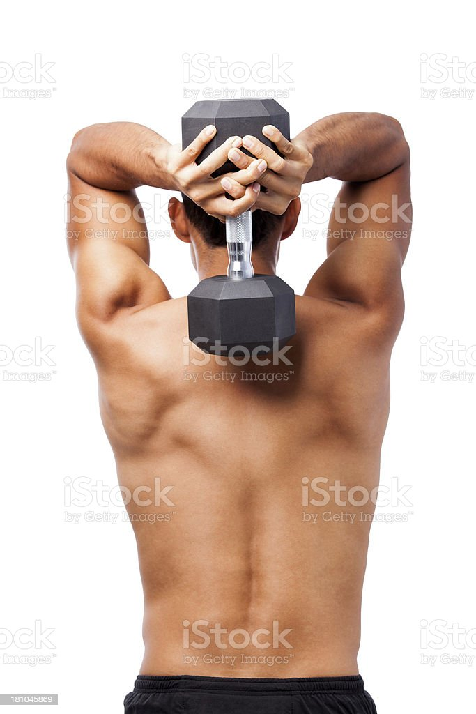 Man lifting weight back view royalty-free stock photo