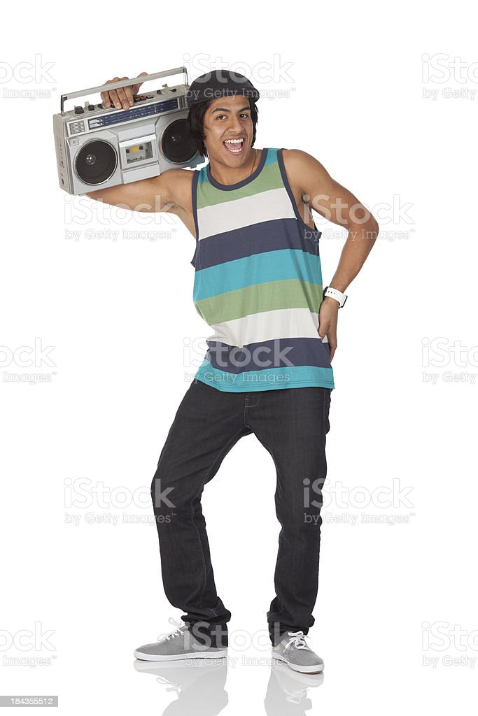 Man listening to a boombox royalty-free stock photo