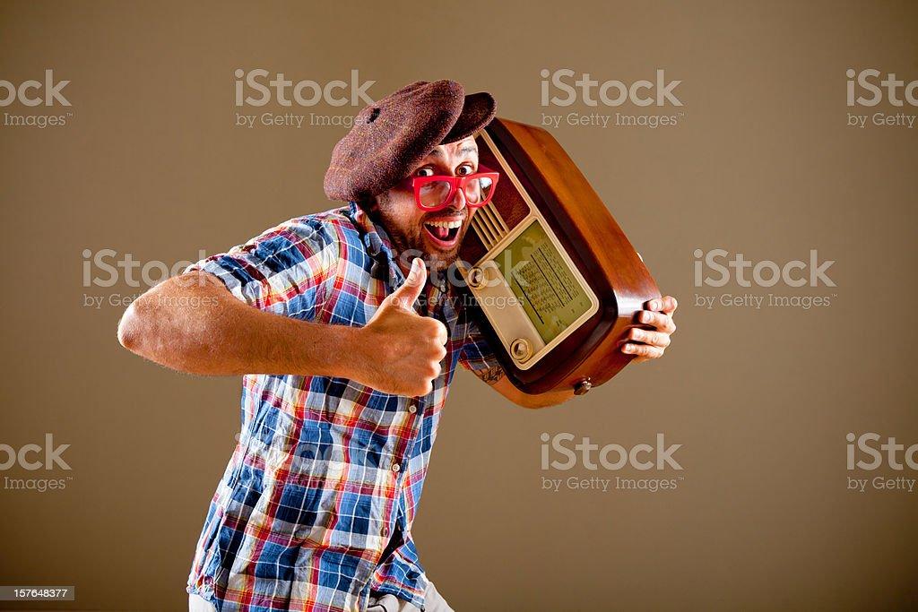 Man listening to a radio