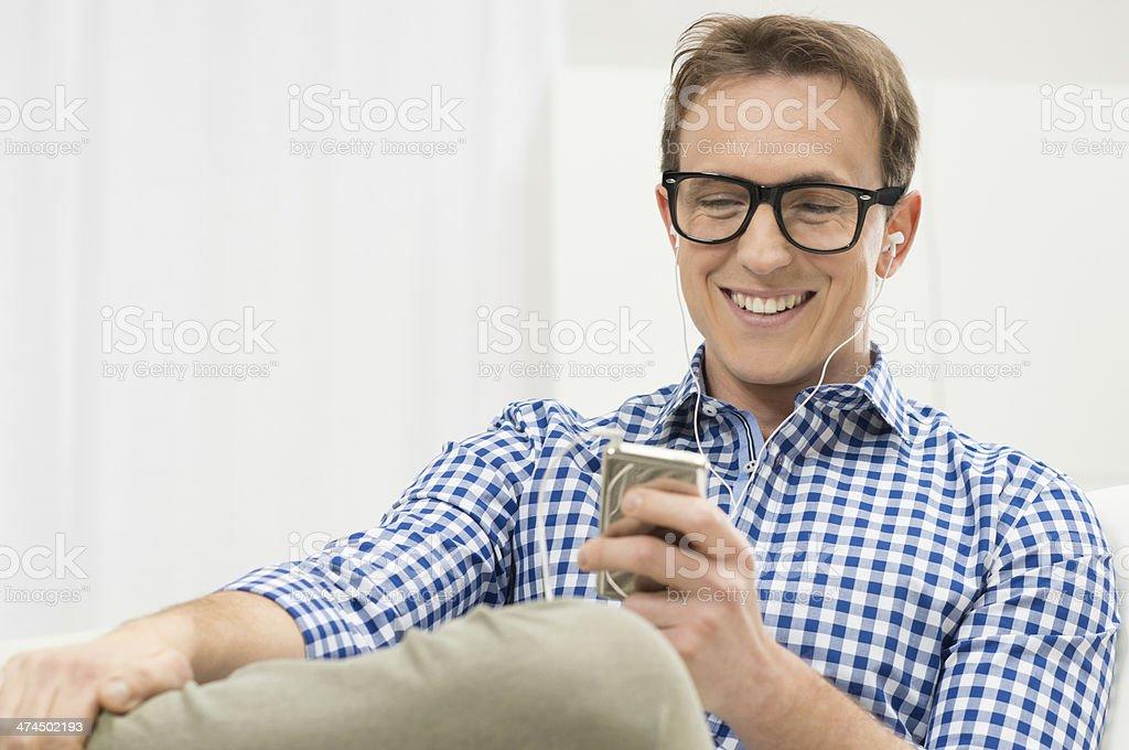 Man Listening To Music royalty-free stock photo