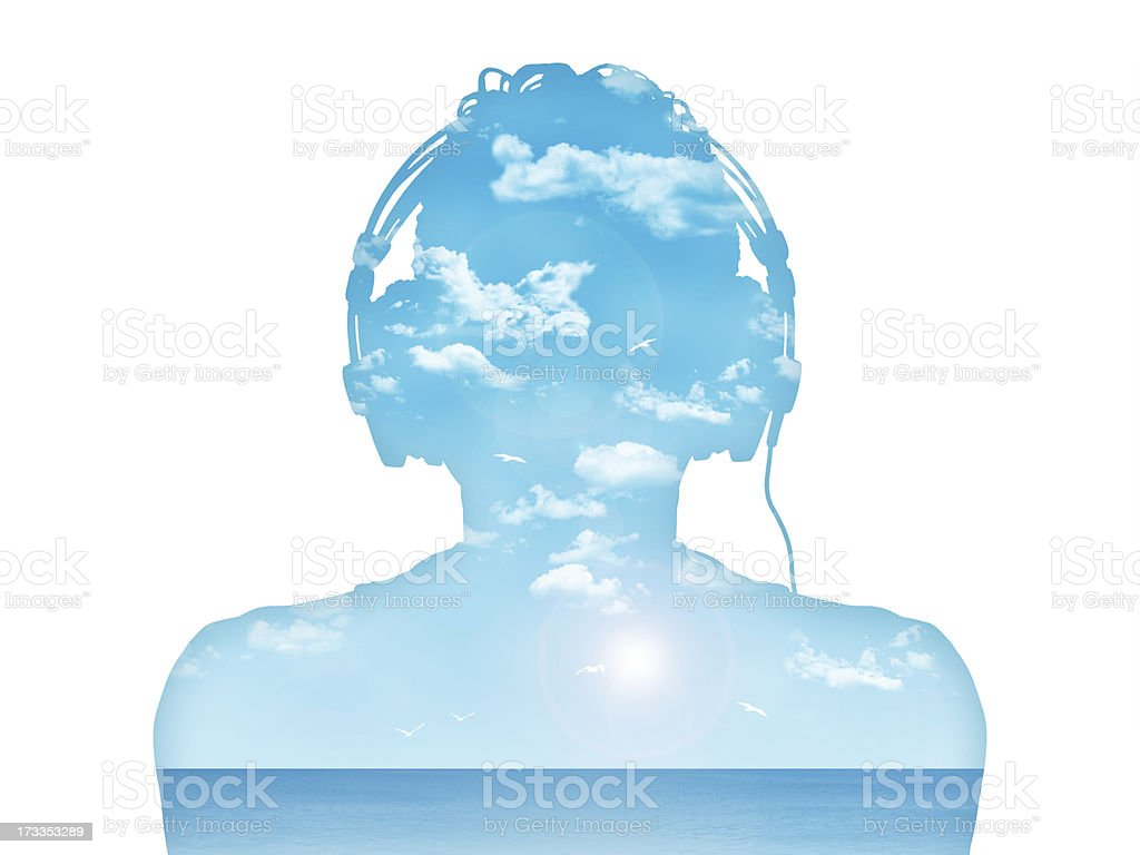 man listening to the music in perfect harmony stock photo