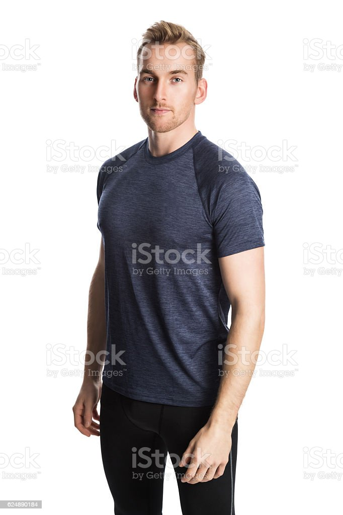 Man living a healthy lifestyle looking at camera stock photo