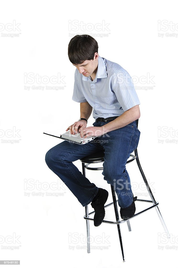 man look to laptop computer royalty-free stock photo