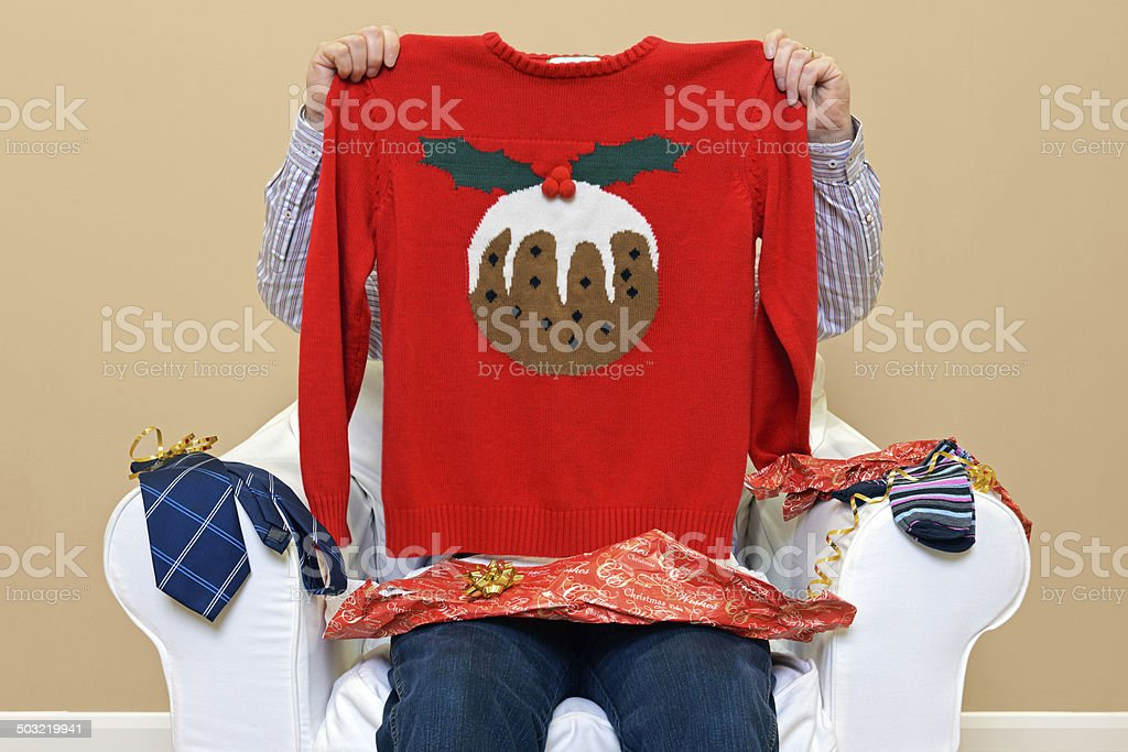 Man - Look what I got for Christmas stock photo