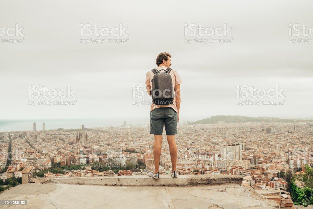 Man looking at Barcelona stock photo