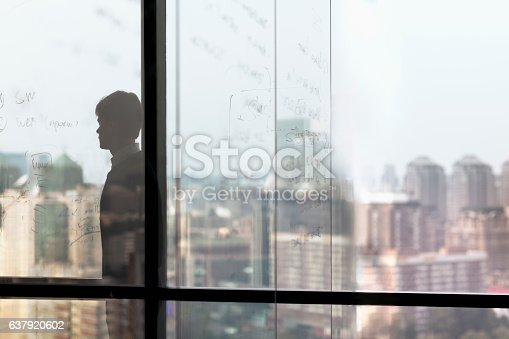 1068588904 istock photo Man looking at city from window in business office 637920602
