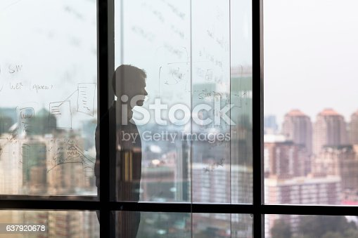 1068588904 istock photo Man looking at city from window in business office 637920678