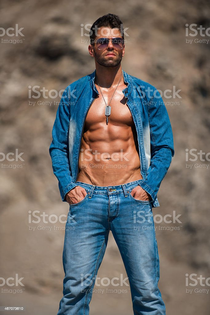Man looking at distance stock photo