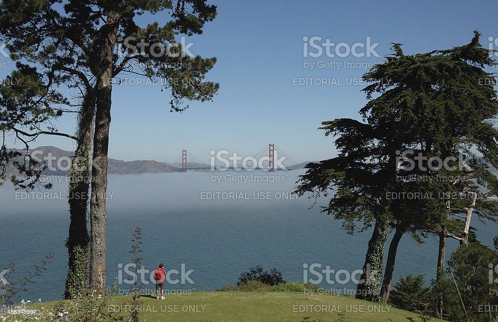 Man looking at Golden Gate Bridge royalty-free stock photo