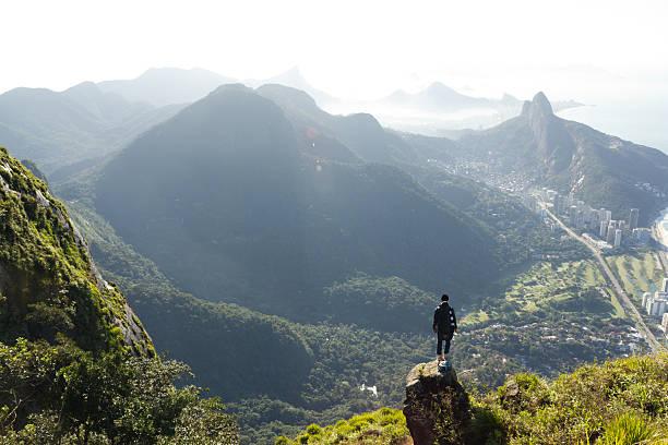 hombre mirando en rio de janeiro desde arriba - viaje a sudamérica fotografías e imágenes de stock