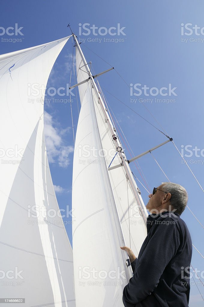 Man looking at the sails royalty-free stock photo