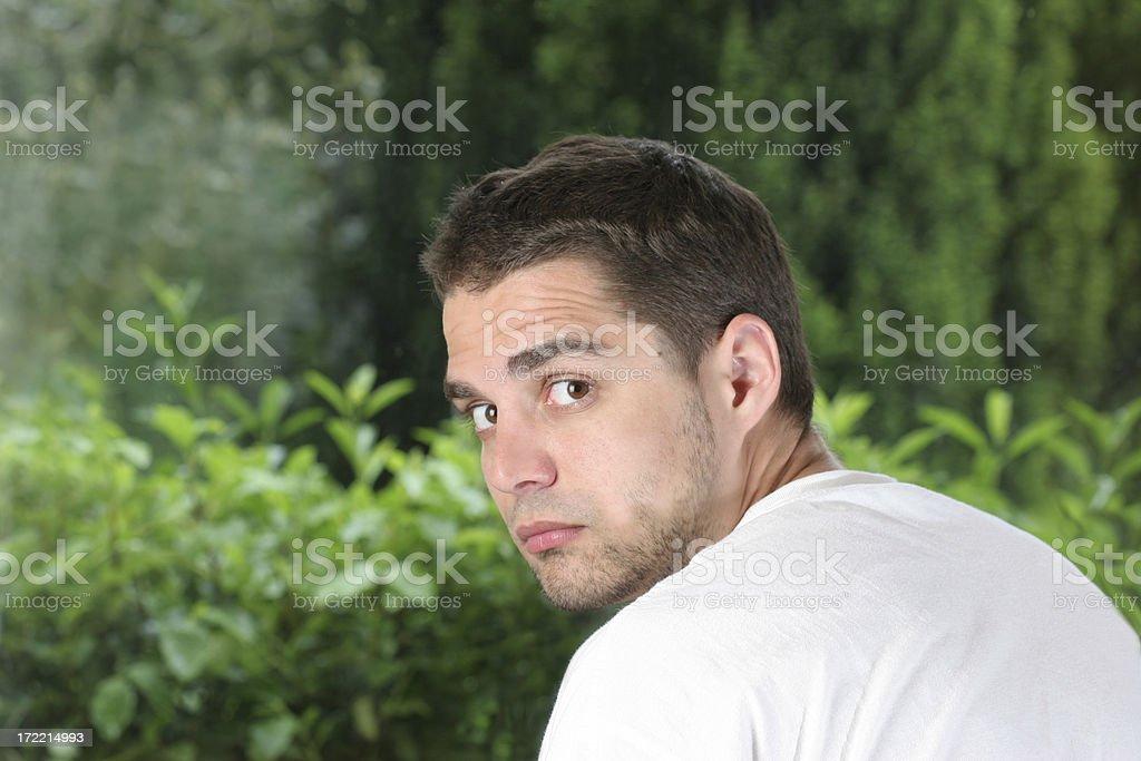 man looking back royalty-free stock photo