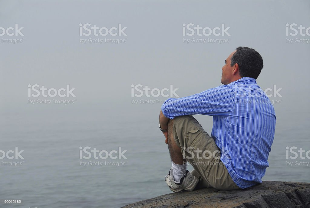 Man looking fog royalty-free stock photo