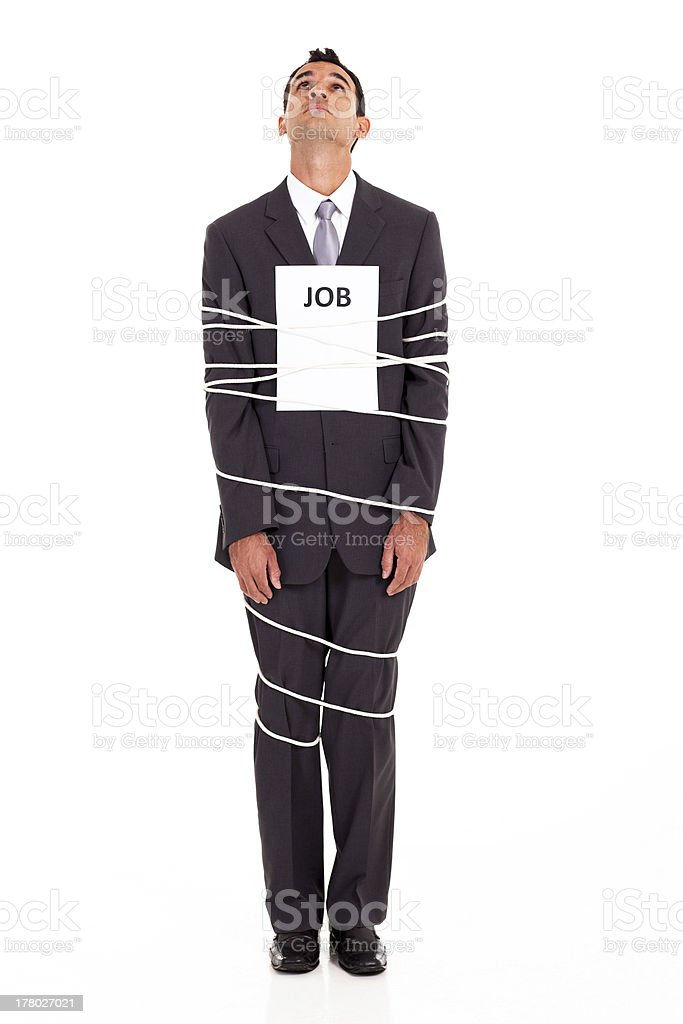 man looking for way out of a boring job royalty-free stock photo