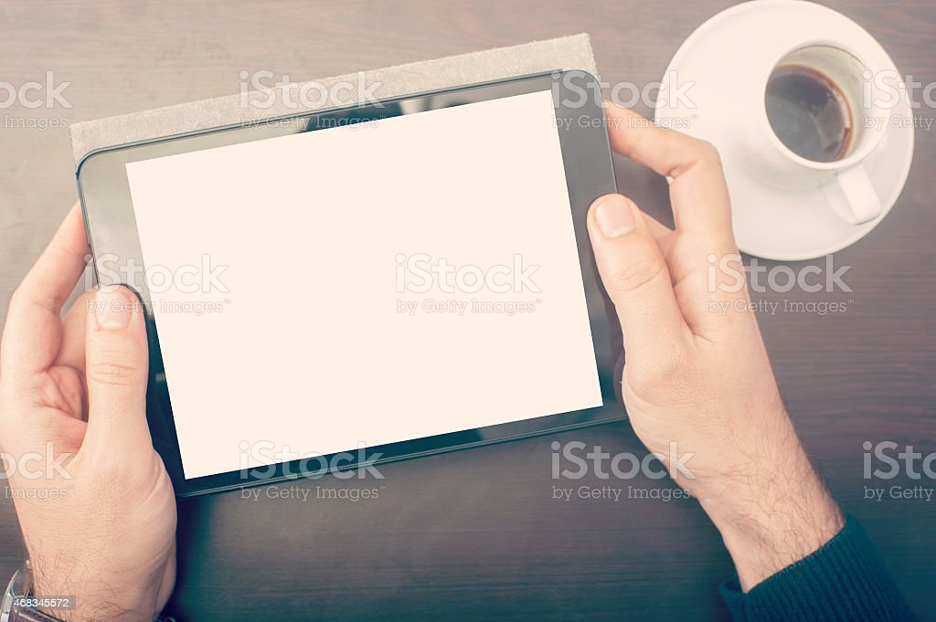 Man looking his tablet device royalty-free stock photo