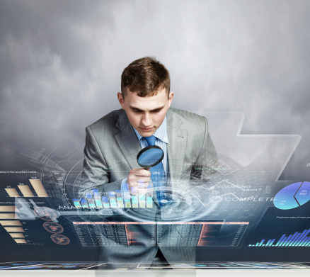 Man Looking In Magnifier Stock Photo - Download Image Now