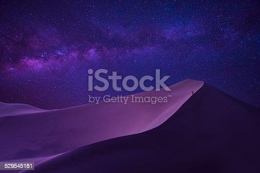 istock man looking milky way in desert 529545181