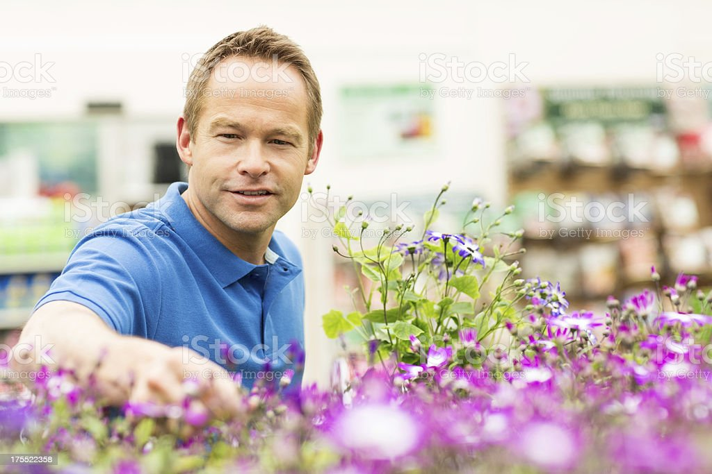 Man Looking Out For Potted Flower Plants royalty-free stock photo