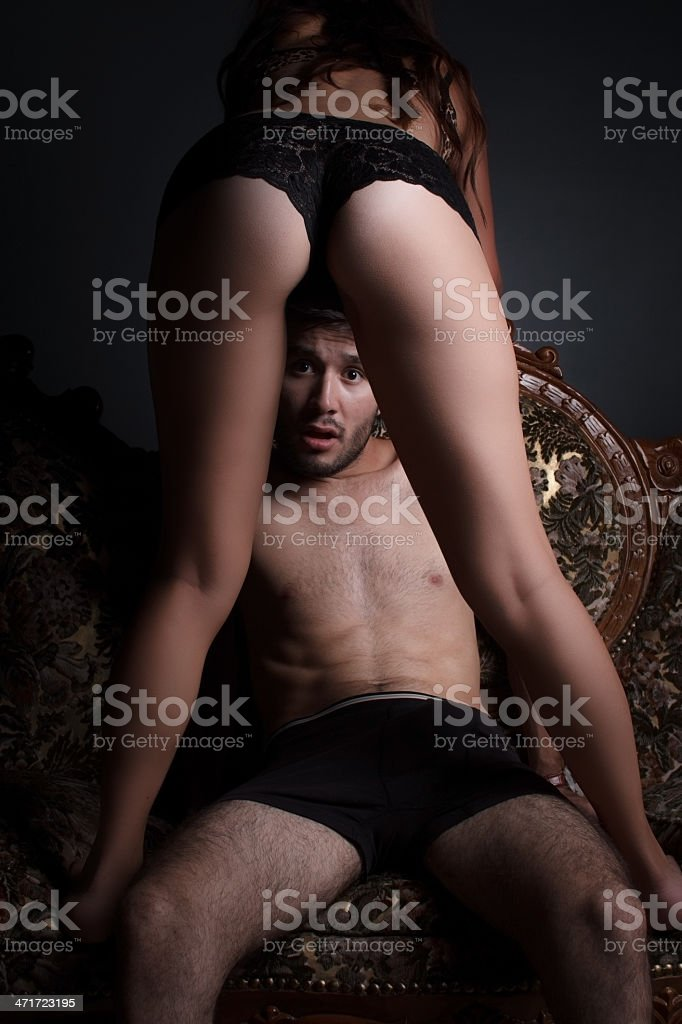 Man looking out of the leg stock photo