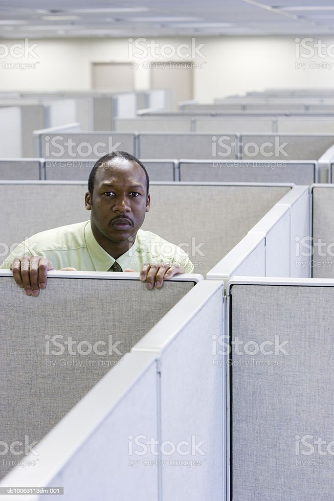 Man looking over office cubicle, portrait royalty-free stock photo